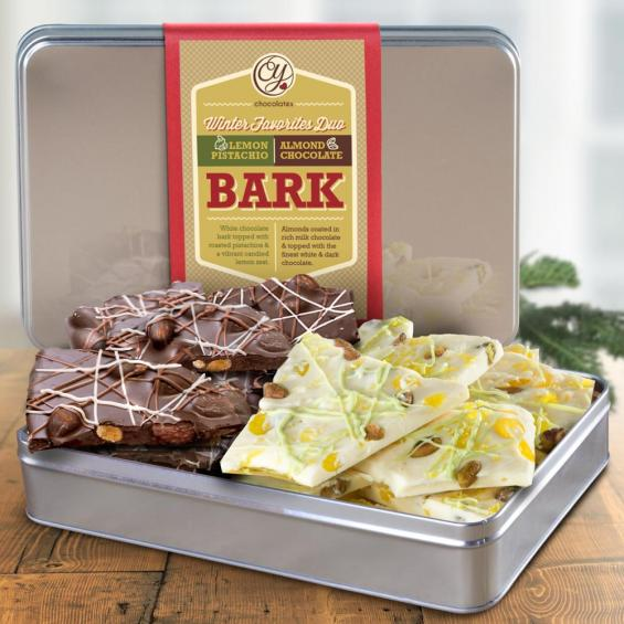 CY2305, DO NOT MAKE LIVE Dark Chocolate Almond Bark & White Chocolate Lemon Pistachio Bark in Keepsake Tin