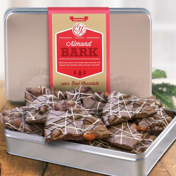 CY4120U, Milk Chocolate Almond Bark Drizzled in Dark and White Chocolates in Silver tin