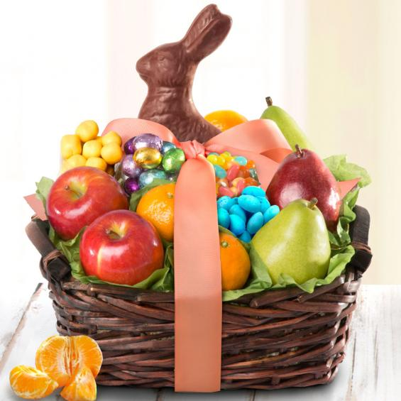 AA4050E, Easter Bunny Fruit and Treats Gift Basket