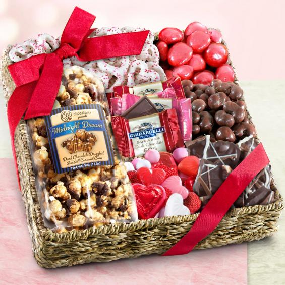 Farmstead gourmet gift baskets a gift inside valentines chocolate sweets and treats gift basket negle Gallery
