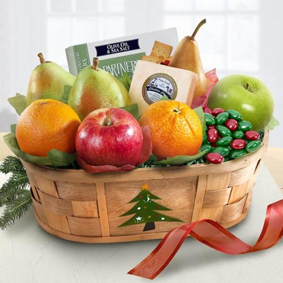 Merry Christmas Fruit and Cheese Basket - AA4058 - A Gift ...