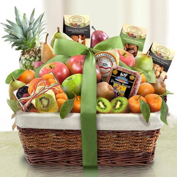 AA4081, Paradise Tropical Fruit, Nuts and Cheese Basket ...