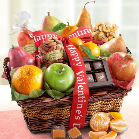 AA4094V, Happy Valentines Day Orchard Delight Fruit and Gourmet Basket