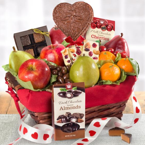 AA5025V, Valentine's Day Chocolate and Fruit Basket