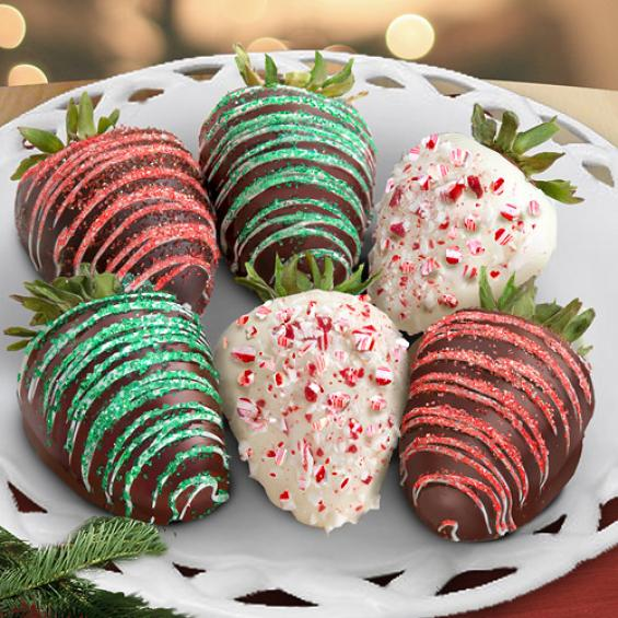 ACD1008, Merry Christmas Chocolate Covered Strawberries - 6 Berries