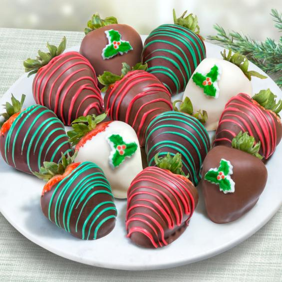 acd2023 merry christmas chocolate covered strawberries 12 berries - Christmas Chocolate Covered Strawberries
