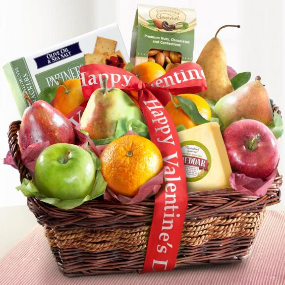 AP8019V, Happy Valentines Day Fruit and Gourmet Basket