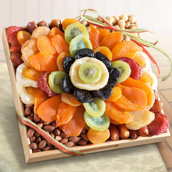 AP8024, Tropical Flora Dried Fruit Tray with Nuts Gift