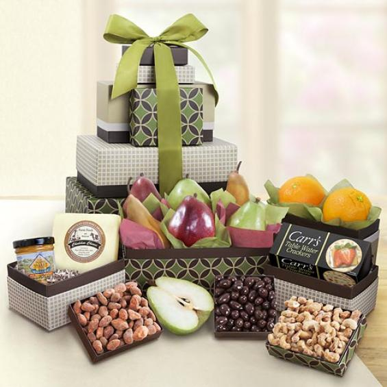 AT0230, Gracious Giver Fruit and Gourmet 7 Box Tower