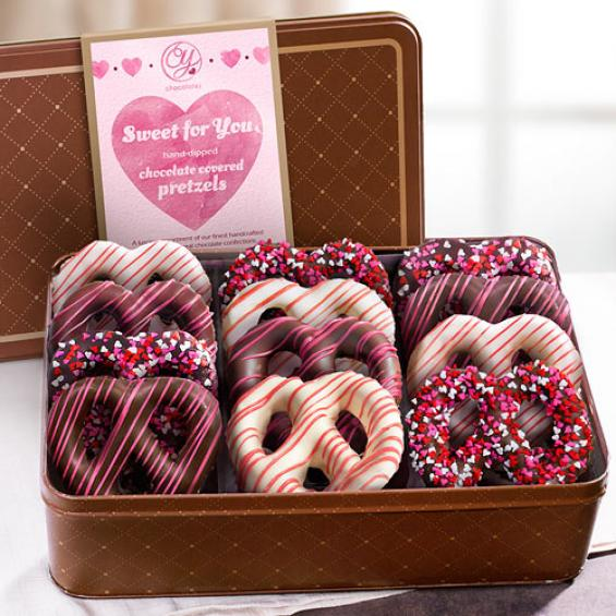 Valentine Hand Dipped Chocolate Covered Pretzels In Gift Tin