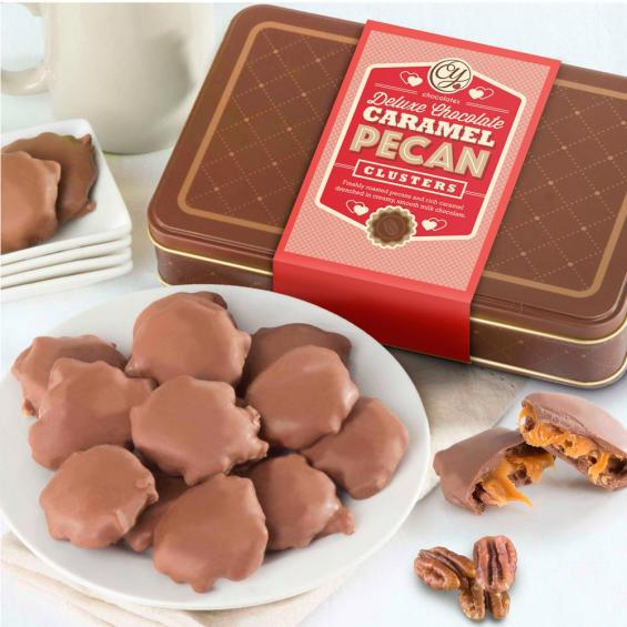 CY2300, Chocolate Caramel Pecan Clusters in Gift Tin