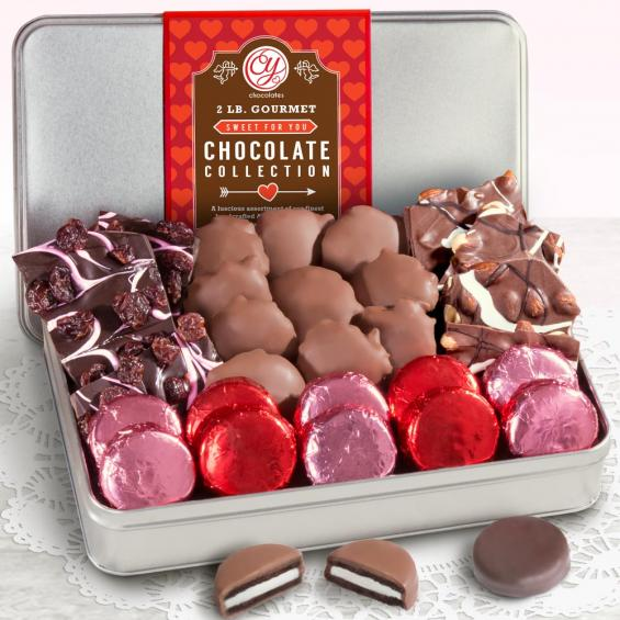 CY4305V, Happy Valentine's Day 2 LB Real Chocolate Confections Assortment Gift Tin