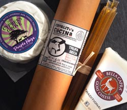 Farm to Table: Cypress Grove Purple Haze Chevre, Bella Capra Traditional Goat Cheese, Charlito's Cocina Truffle Salami, Honey Sticks Bundle