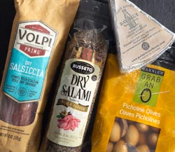 Festive Party Pairings: Volpi Dry Salsiccia Salame, Point Reyes Bay Blue Cheese, Busetto Black Pepper Salami, Barnier Picholine Olives