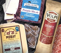 Wine & Chocolate: Volpi Chianti Salami, Fiscalini Purple Moon Wine Infused Cheddar, Mobay Layered Sheep and Goat Milk Cheese, Dark Chocolate Almond Bark