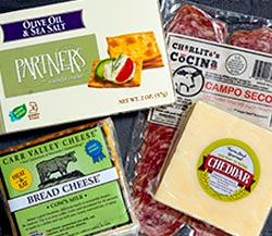 Country Comforts: Farmstead Gourmet Natural Cheddar Cheese, Easy-Melt Bread Cheese, Charlito's Cocina Campo Seco Salami, Partners Crackers