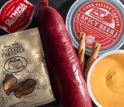 Game Day Favorites: Olympia Provisions Summer Sausage, Spicy Beer Cold Pack Chedar Cheese Spread, East Shore Dipping Pretzels