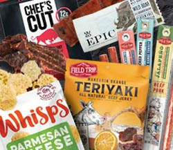 Road Trip: Field Trip Orange Teriyaki Jerky, Assorted Field Trip Meat Sticks, Epic Wild Boar Bacon Bar, Cello Parmesan Whisps, Chef Cut Original Steak Jerky