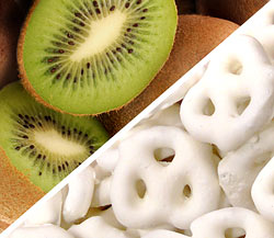 Organic Kiwi with Organic Yogurt Covered Pretzels