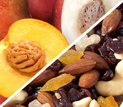 Organic White and Yellow Nectarine Combo with Organic Trail Mix