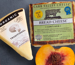 Carr Valley Bread Cheese, Sierra Nevada Organic Jack Cheese & Peach Medley