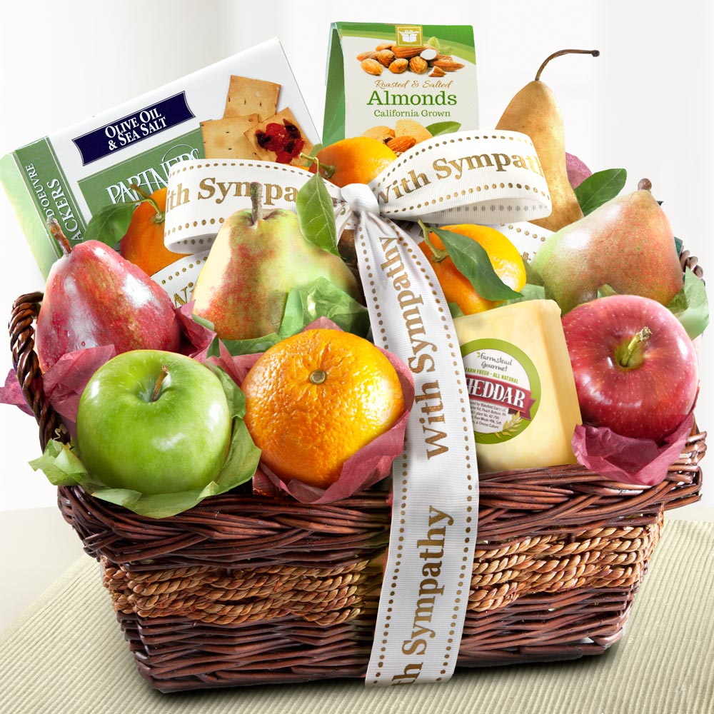 Sympathy Fruit Basket with Cheese and Nuts